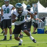 Eagles linebacker Marcus Smith works out in early August. Smith injured his hamstring during Thursday's practice.