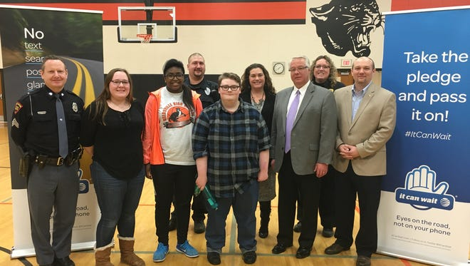 Students at Reedsville High School learned Feb. 15 about the dangers of smartphone use while driving at an It Can Wait event hosted by AT&T, AAA and the Wisconsin State Patrol.