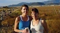 In the water stop picture, where she is running the Park City Marathon Aug. 22, 2009, she is with friend and fellow runner Amanda Nadig of Chicago. Zalewski is on the left, Nadig on the right.