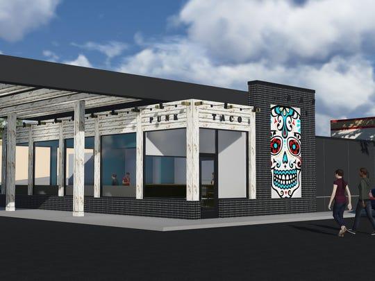 Rendering of Punk Taco, a new restaurant under construction on Saginaw Avenue near Frandor shopping center.
