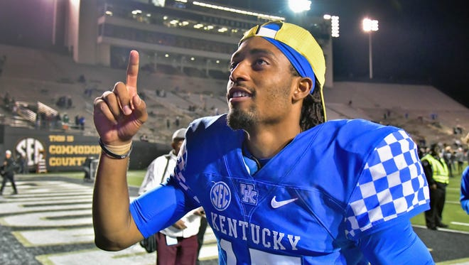 Kentucky Wildcats quarterback Stephen Johnson (15) reacts following the game against the Vanderbilt Commodores at Vanderbilt Stadium. Kentucky won 44-21 in Nashville, Tennessee, on Saturday, Nov. 11, 2017.