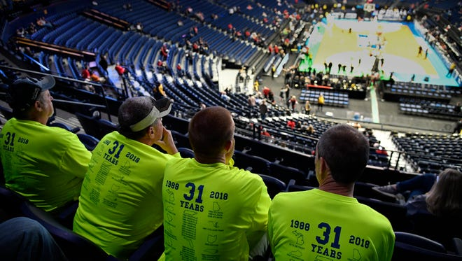 Randy Joines, (rt) Ricky Joines, Buddy Parsons and Dean Shephard (lt) of North Wilkesboro, North Carolina have enjoyed traveling to NCAA basketball tournaments for 31 years. Friday, March 16, 2018 in Nashville, Tenn.