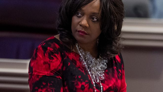 Rep. Merika Coleman during debate on the house floor at the Alabama Statehouse in Montgomery, Ala. on Tuesday March 27, 2018.