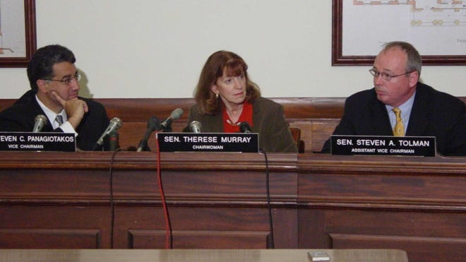 Former Senate President Therese Murray chaired the upper chamber's Ways and Means Committee from 2003-07. With her are former state Sen. Steve Panagiotakos, D-Lowell, and former state Sen. Steven Tolman, D-Boston.