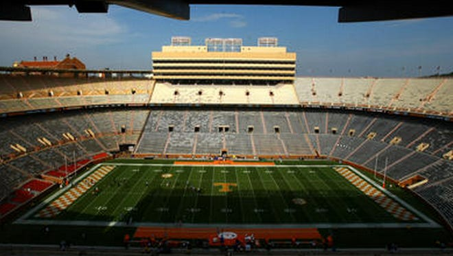 Neyland Stadium looks quite a bit different without its familiar playing surface.