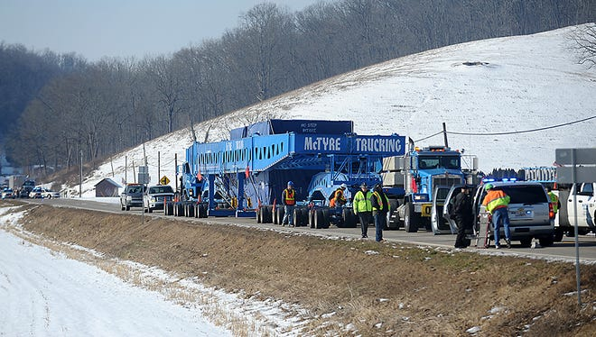 The BP Superload rests on Ohio 36 in January in Nellie for a PUCO inspection before continuing its trip from Mount Vernon.