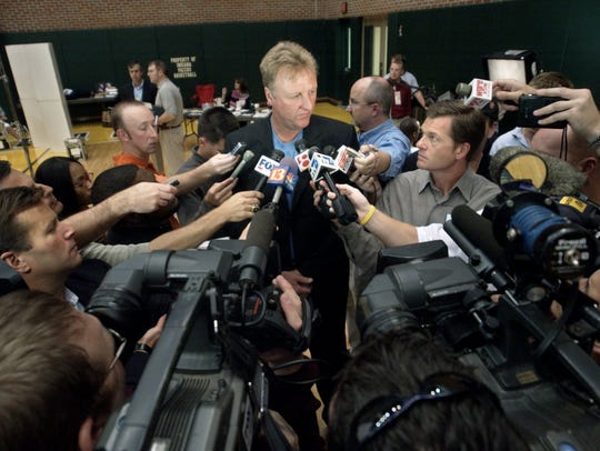 Indiana Pacers Larry Bird talks to the media about