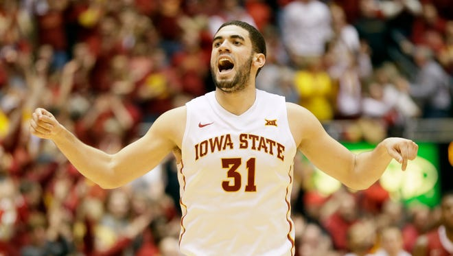Iowa State forward Georges Niang reacts after making a 3-point basket during the second half of an NCAA college basketball game against Oklahoma, Monday, March 2, 2015, in Ames, Iowa.