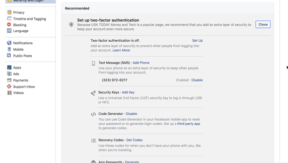 Facebook's two-factor authentication choices