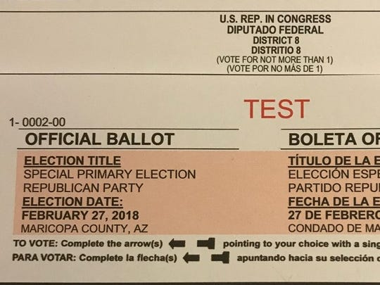 "A test ballot is shown here for the special primary election in the West Valley on Feb. 27. The instructions say to vote for ""not more than 1."""