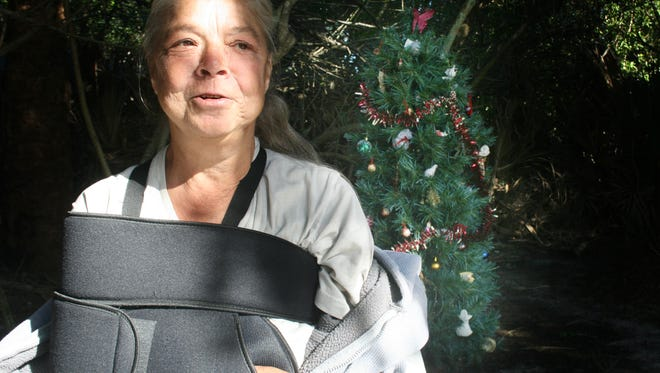Helen Creasman, who lives in a wooded area of Merritt Island knows her broken arm needs surgery. She also knows she can't en afford the consult fee.