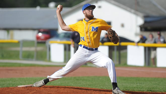 Maysville's Elijah Miller pitches against St. Clairsville in the Division II district semifinals at Meadowbrook High School on Monday. The Panthers lost 6-0.