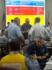 Escambia County holds its annual hurricane preparedness drill at the emergency operations center on W Street Wednesday morning.