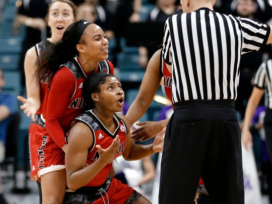 (from left) Nicholls guard Cassidy Barrios (20), guard Tykeria Williams (0) and guard Airi Hamilton (5) react to an officials foul call in the last minute against Stephen F. Austin during the second half of an NCAA college women's basketball game in the Southland Conference tournament championship Sunday, March 11, 2018, in Houston. (AP Photo/Michael Wyke)