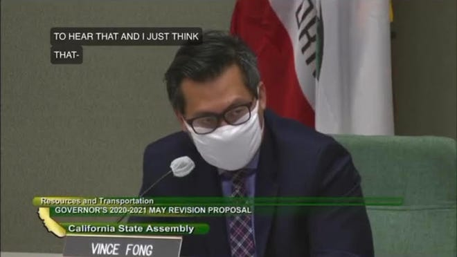 Assemblyman Vince Fong wears a mask in this photo from the California State Assembly.