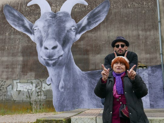 Agnes Varda (front) and JR hit the road for art in
