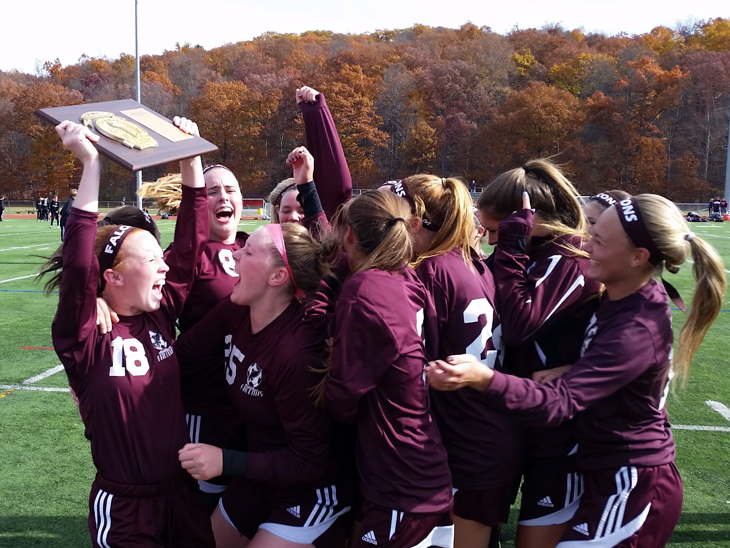 Albertus Magnus celebrates after beating Irvington 1-0 to win the Section 1, Class B title at Arlington High School on Saturday, October 31st, 2015.