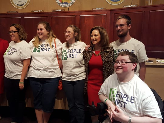 People First, an advocacy group for students with disabilities, were one of several groups present at the State Board of Education meeting Thursday, Oct. 12, 2017.