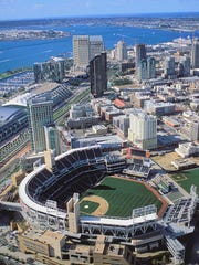 Aerial view of downtown San Diego and Petco Park.