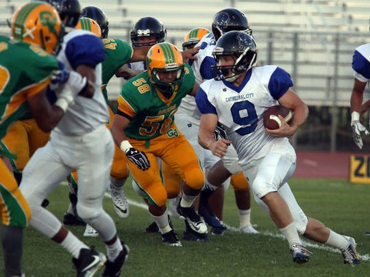 Coachella Valley and Cathedral City football game on Friday, August 25, 2017 in Thermal.