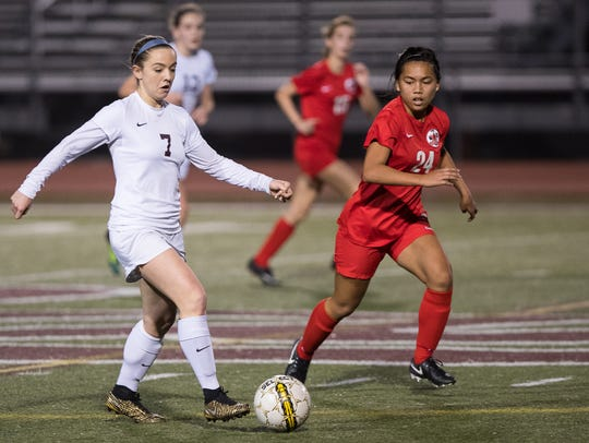 Calallen's Dana Curtis drives the ball up the field
