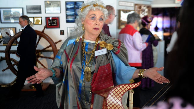 Modenia Kramer portrays a Roman on Saturday during the third annual Art Comes Alive event at the Channel Islands Maritime Museum. The event continues Sunday.