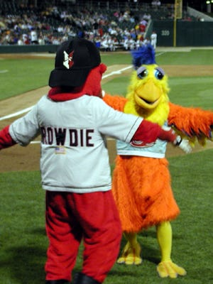 Rowdie, the mascot for the Indianapolis Indians, will greet the Famous Chicken back to Victory Field on June 26. The Indians will play Syracuse at 7 p.m. Submitted photo.
