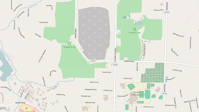 Shadow Pines and Shadow Lake golf courses, just north of Penfield High School and the town's Four Corners, are for sale.