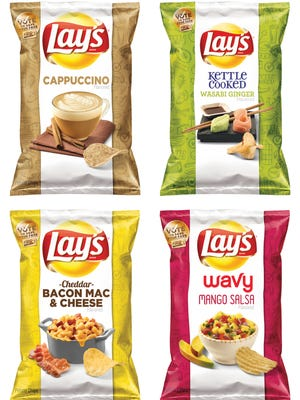 """This combination made from images provided by Frito-Lay shows the four finalists for its second annual """"Do Us a Flavor"""" contest in the U.S., which gives people a chance to create a new potato chip that is sold nationally and win $1 million. The finalists, which will be announced Wednesday, July 16, 2014, are Cappuccino, Wasabi Ginger, Bacon Mac & Cheese, and Mango Salsa."""
