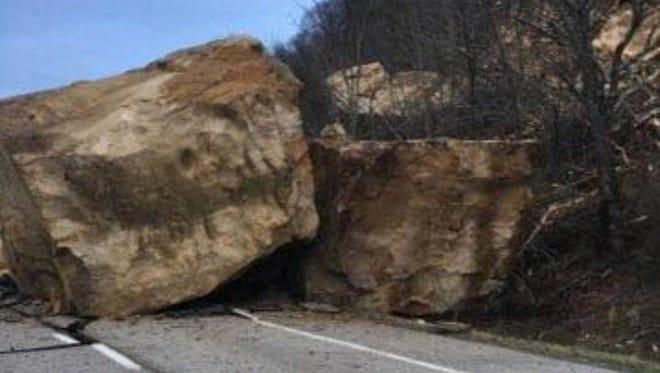 A boulder slide closed Route 7 in Chesapeake, Ohio Monday.
