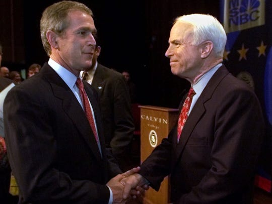Republican presidential hopefuls Texas Gov. George