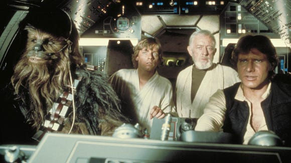 Luke (Mark Hamill, second from left) in the cockpit
