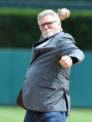 Former Tigers pitcher Jack Morris throws a ceremonial pitch before of a game between the Tigers and White Sox in Detroit, Saturday, June 3, 2017.