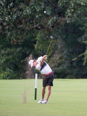 West Florida High's Cameron Bonner follows through on a shot during the Fellowship of Christian Athletes annual boys high school golf tournament at A.C. Read Golf Course in Pensacola on Monday, September 25, 2017.