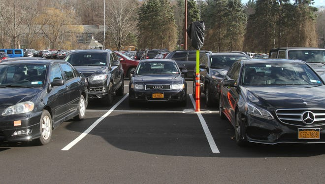 The parking spaces for compact cars at the Chappaqua train station Dec. 2, 2016.