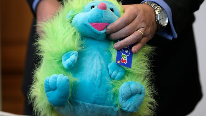 A colored hedgehog plush toy made the annual list of worst toys, at Franciscan Hospital for Children in Boston. The consumer watchdog group has released its annual list of what it considers to be the 10 most unsafe toys as the holiday season approaches.