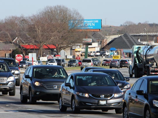 Traffic backs up for rush hour in Powdersville on S.C.