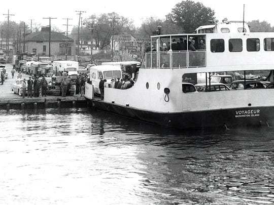 The Washington Island ferry Voyageur at Sturgeon Bay in 1960, when it and the C.G. Richter were pressed into emergency service for several weeks after a collision with the Swedish freighter Carlsholm took out the Michigan Street Bridge, then the only route across Sturgeon Bay.