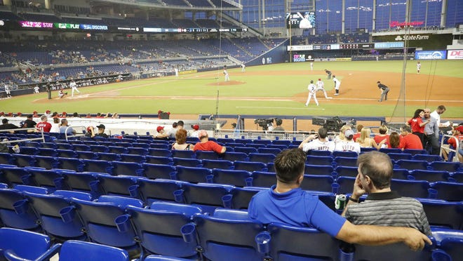 The Miami Marlins and Cincinnati Reds played at Marlins Park last August. Those small crowds will give way to no crowds when MLB starts playing next month with no fans in the stands.