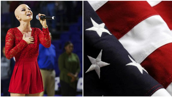 """""""You have to believe in yourself,"""" says Dani Dease on singing the national anthem. Dease's stirring performance of the anthem recently at the opening of Florida SouthWestern State College's arena was a highlight of the event."""