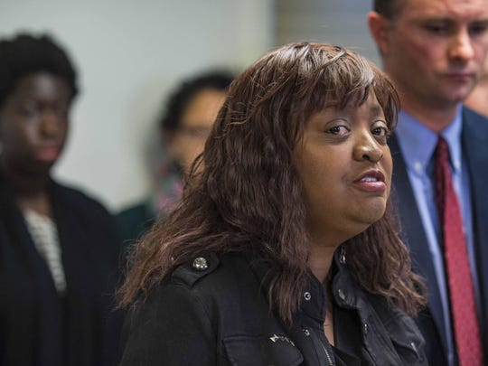 Mary Brown-Guillory of the Champlain Area NAACP speaks during a news conference, where Chittenden County State's Attorney TJ. Donovan announced that he would prosecute disorderly conduct and hate crime charges against William D. Schenk.