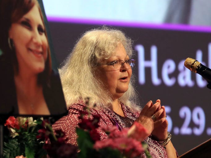 Susan Bro, mother of Heather Heyer, speaks during a