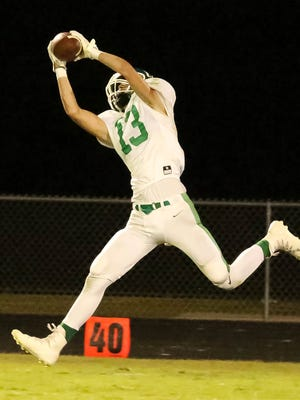 Yellville-Summit's Cody Dobbs makes a catch against Melbourne on Friday night.