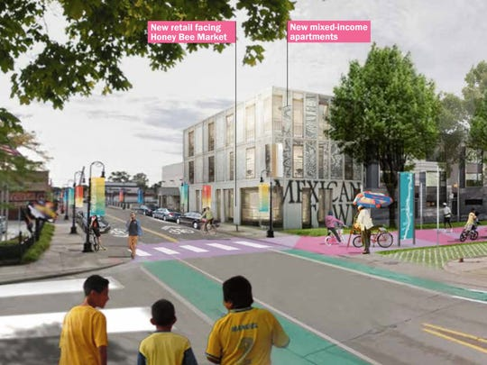 This is a concept rendering of Bagley and 16th from the West Vernor Corridor Neighborhood Framework.