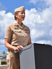 Rear Adm. Shoshana Chatfield, Joint Region Marianas commander, speaks to the media about the Navy's underwater detonation training at the Asan Bay Overlook on Nimitz Hill on May 3, 2017.