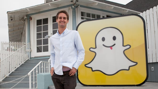 Snapchat CEO and co-founder Evan Spiegel in front of Snapchat's Venice, CA headquarters.