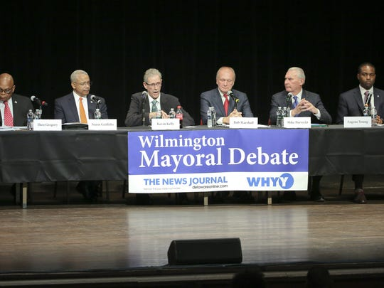 Wilmington mayoral candidates (from left) Theo Gregory, Norman Griffiths, Kevin Kelley, Bob Marshall, Mike Purzycki and Eugene Young take part in a debate at the Grand in Wilmington.