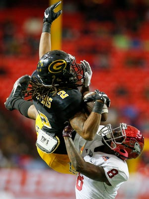 Grambling wide receiver Verlan Hunter (2) catches a pass over North Carolina Central in December's Celebration Bowl. Hunter is one of six Tigers playing in this weekend's HBCU Spirit of America Bowl in Virginia.
