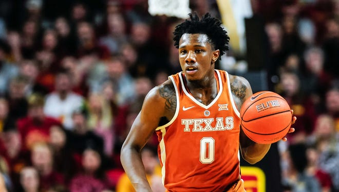 Jan 7, 2017; Ames, IA, USA; Texas Longhorns guard Tevin Mack (0) brings the ball up court during the first half against the Iowa State Cyclones at James H. Hilton Coliseum. Iowa State won 79-70. Mandatory Credit: Jeffrey Becker-USA TODAY Sports