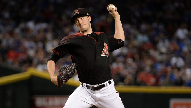 Aug 12, 2017: Arizona Diamondbacks starting pitcher Patrick Corbin (46) delivers a pitch in the first inning against the Chicago Cubs at Chase Field.